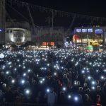 Essen licht festival kerstmarkt in Duitsland